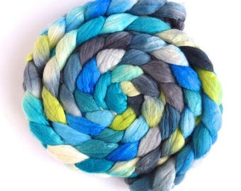 New Growth, Merino/ Silk Roving - Handpainted Spinning or Felting Fiber