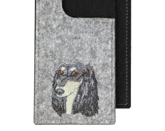 Saluki - A felt phone case with an embroidered image of a dog.