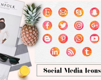 Watercolor Social Media Icons, Summer Social Icons, Social Media Buttons, Round Watercolor Icons, Social Clipart, Coupon Code: BUY3FOR6