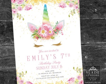 Unicorn birthday party invitations. Pink vintage rose and gold or rainbow unicorn face printable party invitations.