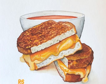 Ooey-Gooey Grilled Cheese Sandwich and Tomato Soup, Original Watercolor