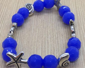 Sea Themed Beaded Charm Bracelet