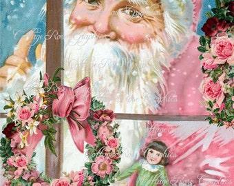 Pink Santa at the window and pink roses Large digital download ECS buy 3 get one free ECS