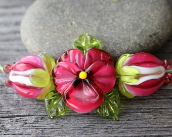 Handmade Lampwork Flower Beads, set of 3 pc Glass  Flower, Flower Beads, Lampwork Flower
