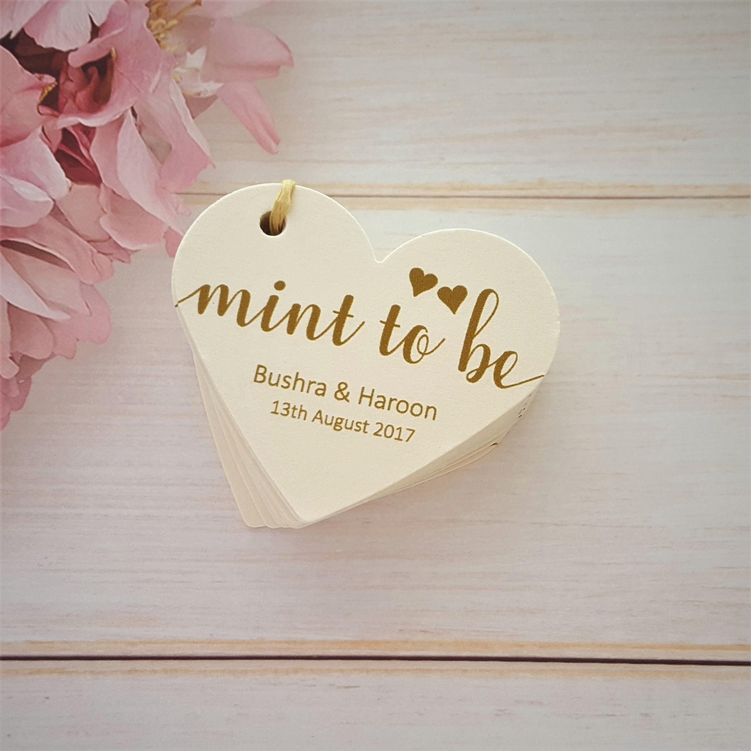 10 Personalised Wedding Favour Tags Mint to Be Heart Shaped