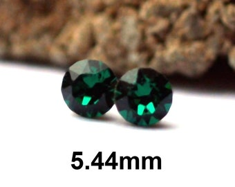 Emerald Crystal Studs, Emerald Earrings, 5.44mm Earrings, Green crystal earrings, Rhinestone Studs, Small Studs