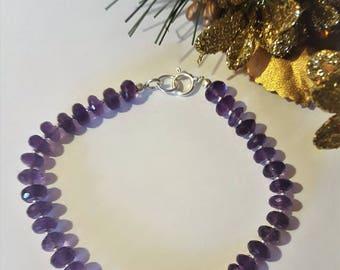 Amethyst, Gemstone, Birthstone, Bracelet,  Jewellery, Gift for her, February birthstone, Sterling silver