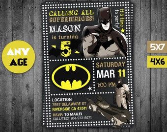 Batman Invitation, Batman, Batman Party, Batman Invite, Batman Birthday Party, Batman Birthday, Batman Card, Batman Printable