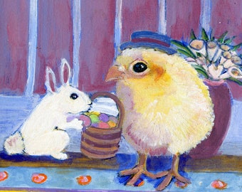 """Bunny and chick art, Easter chick with Easter bunny, 5 x 5"""" blank card"""