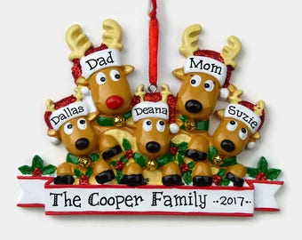 5 Reindeer Family Personalized Ornament - Rudolph Family of Five - Hand Personalized Christmas Ornament