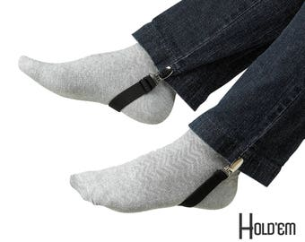 Hold'Em Boot Clips Elastic Adjustable Leg Straps Pant Stirrups with Heavy Clips