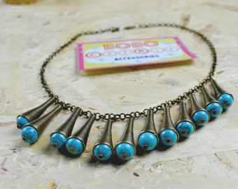 Vintage inspired brass necklace egyptian revival 1940s reprodution jewellery