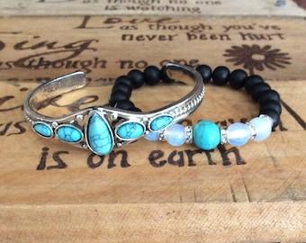513 Boho Silver and Turquoise Stacking Bracelet set