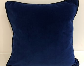 Linwood cotton velvet fabric - navy blue front with dark blue reverse and dark blue piping - 18x18in