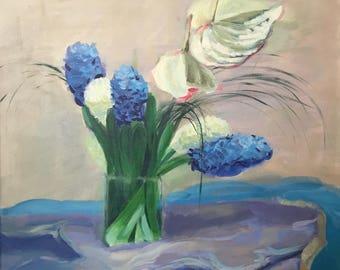 "Blue Hyacinth Oil Painting, art, abstract art, wall art, canvas painting, art painting, painting canvas, flower art 24""x28"""
