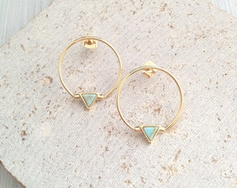Triangle Marble Earring,Tiny Triangle Marble Earring,Turquoise Marble Earring,Tiny Triangle Drop Earring,Gold Circle Earring,Geo Earring