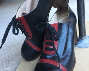 Vintage Black and Red Italian Leather Platform Shoes 1970