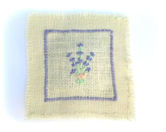 Embroidered flax pillow - lavender filled