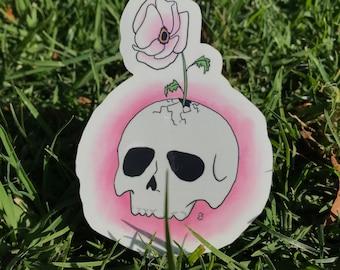Skull with Flower Sticker