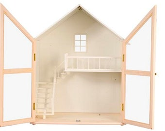 MEGA SALE LIMITED quantity pink dollhouse miniature  pre finished kit 1/12 scale 2 floors 2 story pre assembled with staircase kit