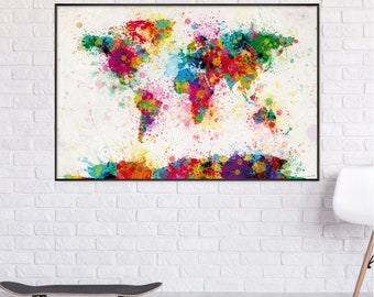 Michael Tompsett-World map Watercolor paint drop-map of the World in watercolors (91.5 cm x 61 cm)