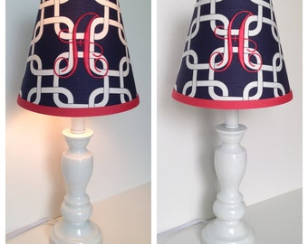 Monogram lampshade etsy navy blue geometric monogrammed lamp shade other colors available for monogramtrim mozeypictures Image collections