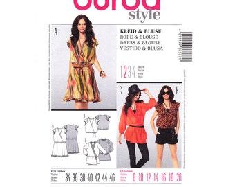 Wrap Dress & Blouse Pattern Burda 7377 Loose Mini Dress or Top Ruffle Cap Sleeve Elastic Waist Womens Sewing Pattern Size 8 to 20 Plus UNCUT