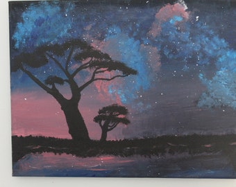 African Night Sky Painting Print (11X14 In.)