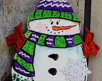 Snowman ornament, snowman gift tag, snowman grab bag, grab bag ornament, santa ornament,  happy winter, welcome winter, frosty the snowman