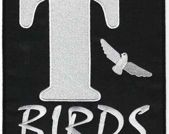 T-BIRDS Patch XL Embroidered Iron / Sew on Badge Grease Costume Leather Jacket Fancy Dress Cosplay Souvenir Collectible Tbirds Pink Ladies