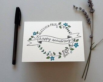 Personalised Anniversary Card - happy anniversary card, personalised card, special card, a6 blank card, hand drawn card