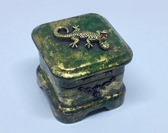 Jewelry box goldleaf oxidized Keepsake box Trinket Box vintage embellishments red green crystals Organizer Box Women's jewelry storage box