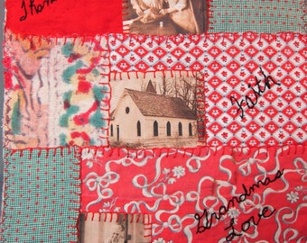 Art Quilt/Art/Quilt/Textile Art/Fabric Collage/Hand Stitched/Vintage Fabrics/Recycled/Wallhanging/Pieced/Vintage Photos/OOAK/Embroidery