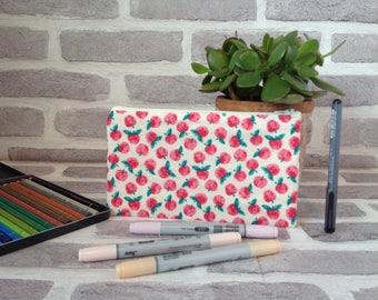 Apple pencil case, gift for teacher, gift for her, back to school, pencil case, end of school gift, birthday gift, Christmas gift