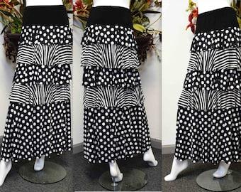 Polka dot Skirt,Tiered Skirt, Designer skirt, Long Frill skirt, Flamenco Skirt, Layered skirt, Plus size Skirt Travelers L, XL,1XL,2XL,3XL
