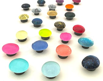Small magnet set, fridge magnets, glass dome magnets, bright colors, glittery round magnets, candy colors