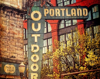 Portland Oregon Photo--Portland Outdoor Store Distressed 24x36