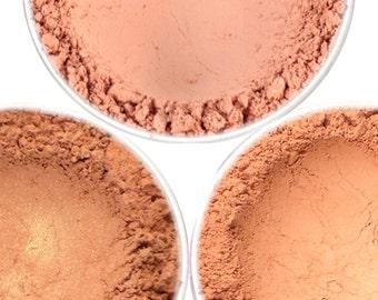 "Warm Peach Blush Set - ""Blissful,"" ""Tea Time,"" ""Sweet Ginger"" (3 x 4.5g Net wt Jars) Vegan Mineral Makeup Matte and Shimmer"