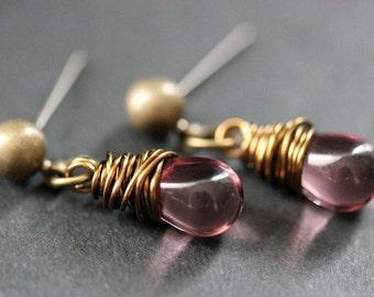 BRONZE Earrings - Amethyst Purple Teardrop Earrings. Dangle Earrings. Post Earrings. Handmade Jewelry.