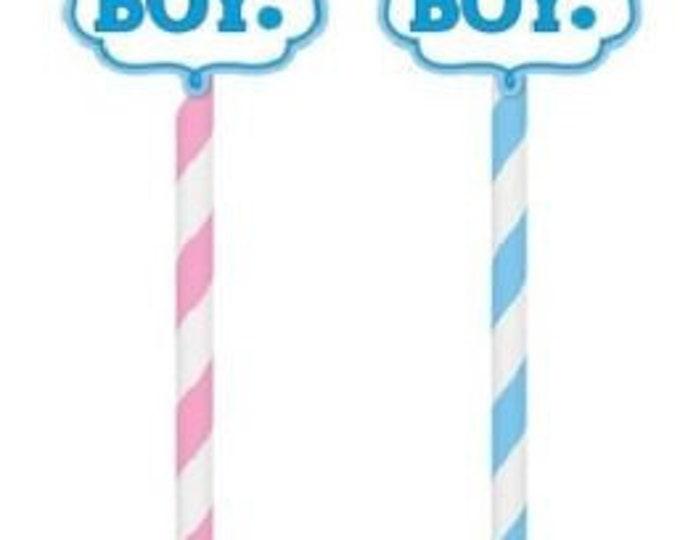 Gender reveal boy or girl striped paper straws Baby shower Pack of 20