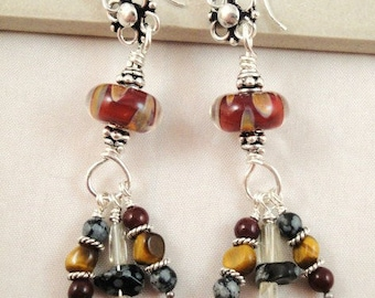 Sterling silver dangle earrings. Boho. Lampwork glass beads.  Gemstones. Red. Black. Citrine. Snowflake obsidian. Tiger's eye. SRAJD