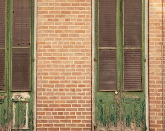 new orleans door photography, french quarter architecture art, green home decor, large living room wall art, weathered doors