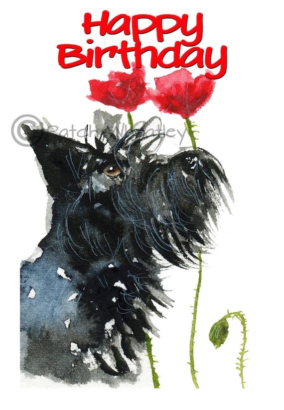 Scottie dog happy birthday art greeting card m4hsunfo