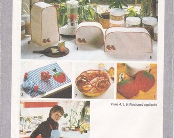 FREE US SHIP Simplicity 9255 Vintage Retro 1980s 80s Kitchen appliance Covers Sewing Pattern Mixer Blender Toaster Apron   Applique ff