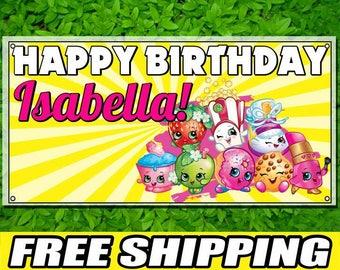 Shopkins Printed Happy Birthday Vinyl Banner Personalized Custom Name