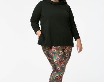 Marilyn tunic in black cotton with retro wide-necked funnel collar and pockets available in plus sizes only