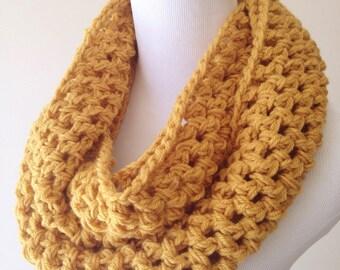 Mostaza bufanda - bufanda gruesa - mostaza infinito bufanda - bufanda mostaza de punto - bufanda punto amarillo amarillo bufanda - ocre bufanda regalo de Navidad