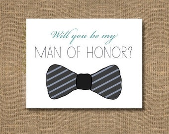 Will you be my Groomsman / Junior Groomsman Card / Will you be my Ring Bearer / Gift Bearer / Usher Invitation / Groomsman Card with Bow tie
