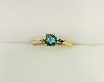 Natural blue diamond 18k solid gold solitaire engagement ring