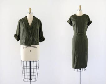 1950's pin stripe dress + matching jacket